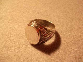 Gravierbarer Siegelring 925 Sterling Silber Mit Jugendstil - Ornament Bild