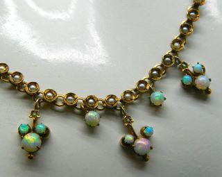 Antikes Gold Collier Mit Opal & Perlen Um Ca.  1880 - S2706 Bild