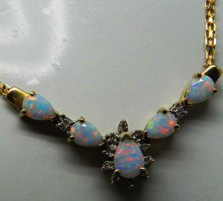 Sehr Schönes 10 Karat Gold Collier Mit 5 Opale & 11 Diamanten - S2408 Bild