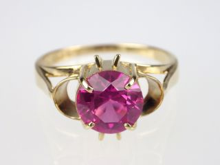Art Deco 585 Gelb Gold 2 Ct Pink Turmalin Ring,  Unikat,  Antik Bild