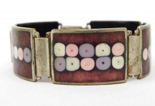Vintage Perli Signiert 21 Mm Armband Emaille Versilbert,  Enamel Bracelet Bild