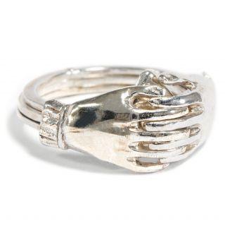 Mein Herz In Deinen Händen: Biedermeier Gimmel Ring In Silber,  Verlobungsring Bild