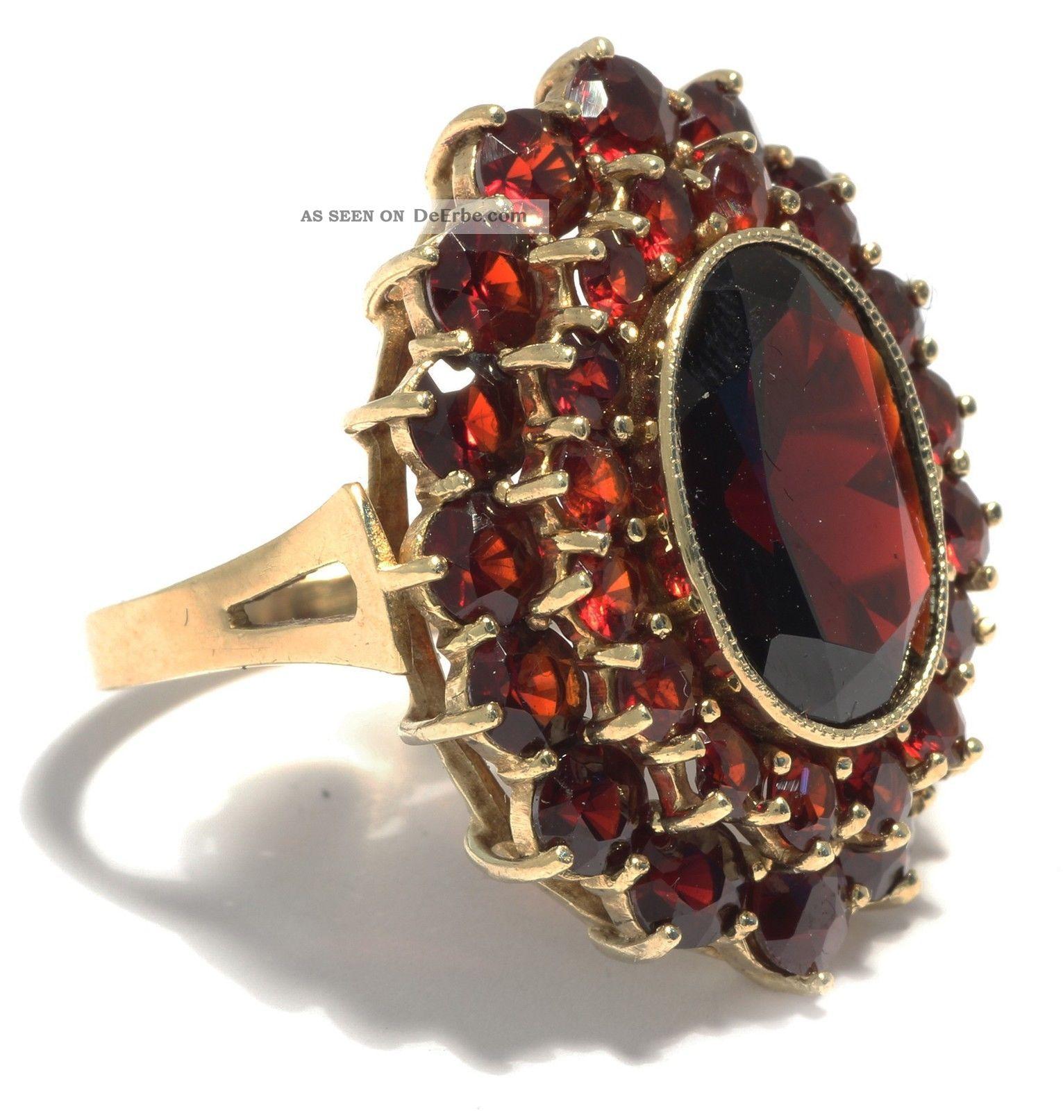 Riesig Antiker Gro 223 Er Granat Ring Gold Antique Garnet