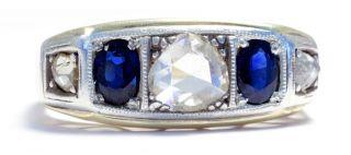 Ein Juwel Der Belle Époque: Saphir & Diamant Ring,  Um 1910,  585 Gold Diamantrose Bild
