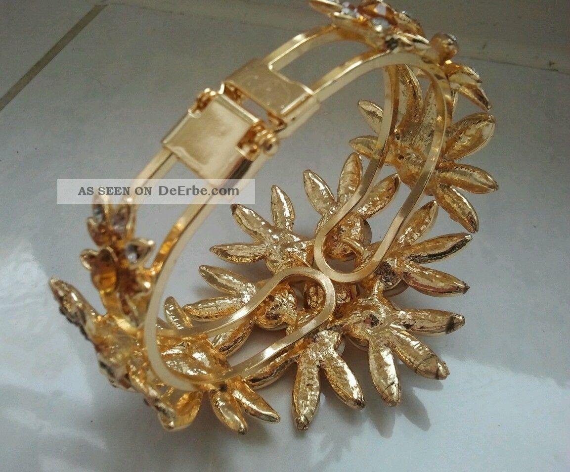 Klapp Arm Reifen Goldfarbene Blute Kristall Schmuck Viel Strass Gold