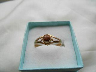 Eleganter Alter Ring Mit Stein Russisches Rosegold 583 Gestempelt Bild