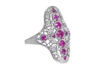 Großer Art - Deco Ring Mit Rubinen Und Diamanten. Bild
