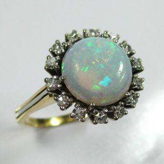 954 - Klassischer Ring Aus Gold 585 Mit Opal Und Diamanten - - - Video - 1509/31 - Bild
