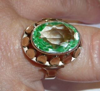 Ring 333 Gold Antik O.  Vintage 5 G Selten: Prasiolith Gr.  56 - 57 Sehr Feine Arbeit Bild