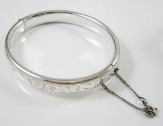 Armband Armreif Klappreif Um 1900 Jugendstil 925 Silber 20 G 18 Cm Ziseliert Bild