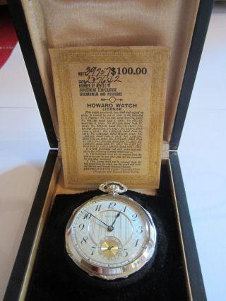 Taschenuhr Weißgold 14 Ct.  Howard Mit License Im Orig.  Etui Bild