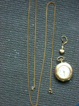 Gold Konvolut,  Taschenuhr 585er,  Kette 333er,  Ohrring 333er,  Altgold,  Schmuck Bild