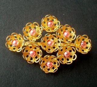Wunderbare Alte Blüten Brosche Mit Rosa Faux Perlen Florale Optik Vintage Bild