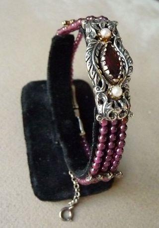 Trachten Armband 19.  Jhd.  Rubine,  Silber,  Gold,  Granaten,  Perlen Bild