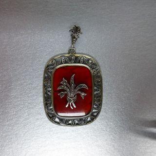 Anhänger Silber 835 Mit Rotem Stein Und Markasiten,  Signiert,  Um 1900 - - Shop Bild