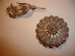 2 Silber Broschen 800 900 Im Silberbrosche Jugendstil Rarität Bild