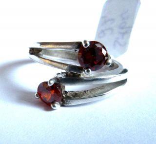 Schöner Silberring Mit Orange - Roten Steinen 925 Er Silber Ring Bild