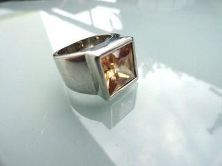 Massiver 925er Silber Ring Breite Schiene Grosser Citrin Sternschliff - Bild