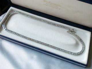 Halskette - Collier - Tenniskette 925 Silber Mit Saphir ? Hellblaue Steine 44 Cm Bild