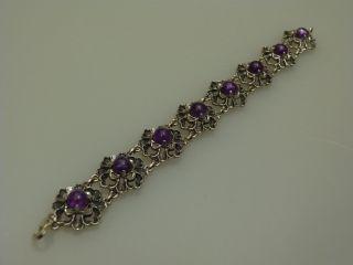 Trachten Armband Silber Amethyst BlÜtenform Um 1960 Gestempelt 835 Bild