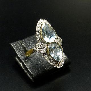 Dekorativer Aquamarin Brillant Ring Mit 3,  3 Ct Aquamarin Und Diamanten 750 Gold Bild