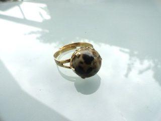 Vintage 935 Silber Ring Vergoldet Gr.  Jaspis Dalmantiner überlappemde Schiene Bild