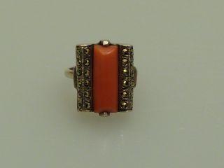 Ring Silber Koralle Markasit Antik Handarbeit Art Deco Zwanziger Jahre Bild
