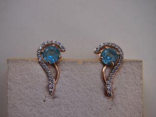 Ohrringe Besetzt Mit Blautopas,  Weißer Steinbesatz - 585er Gelbgold Bild