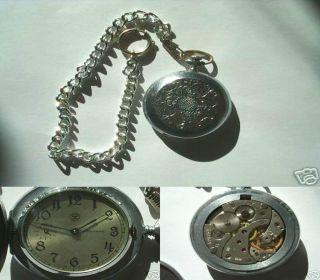 Schöne Alte Russische Taschenuhr Mit Kette - Wappen Bild
