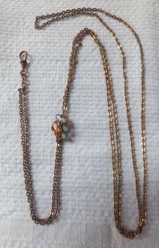 Antike Uhrkette Schieberkette Schöner Schieber Mit Opal Gold Double Um 1900 Bild