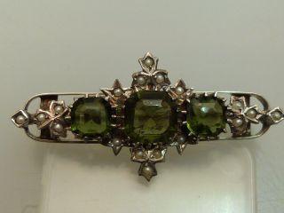 Brosche Silberturmalin Perlen Antik 19.  Jahrhundert Handarbeit Oesterreich - Ungarn Bild