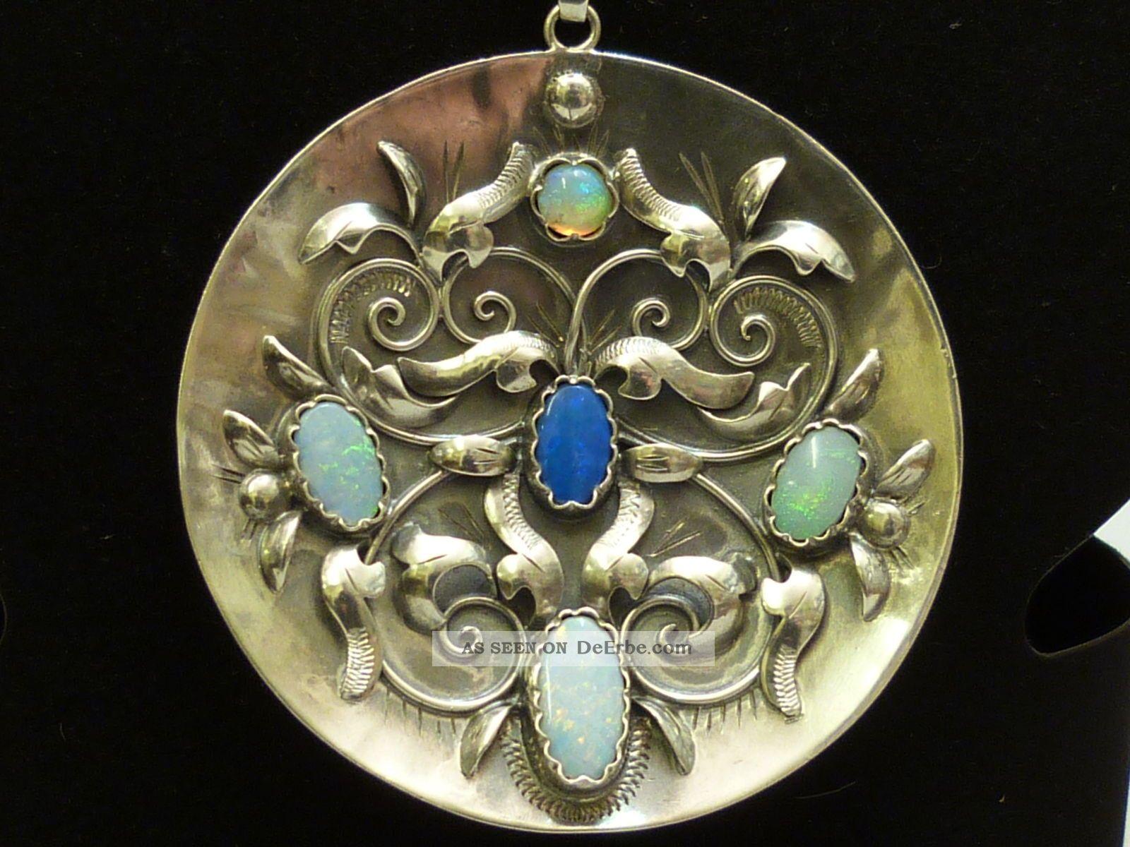 opal anh nger silber 800 gro rund antik 5 opale handarbeit rare pendant. Black Bedroom Furniture Sets. Home Design Ideas
