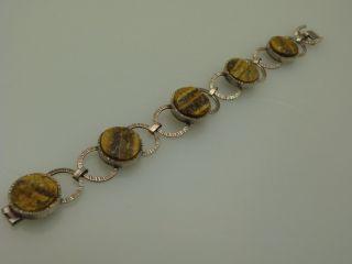 Schmuck Armband Silber Tigerauge Um 1960 Handarbeit Vintage Bild