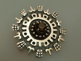 Schmuck Brosche Silber Mexico Handarbeit Design Vintage Topas Bild