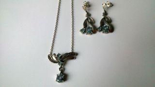 Collier Mit Ohrstecker - In Echt Silber 925 Mit Blautopas Bild