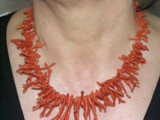 100 Korallen Kette Antik Natural,  Coral Necklace Natural 585 Gold Gramm Bild