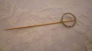 Goldbrosche 585/14 Karat Gelb/weissgold Mit 0,  30 Ct Diamanten Anstecknadel Bild