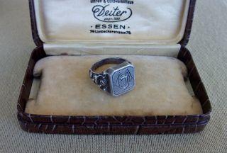 Antiker 835 Silber Herren Siegel Ring Mit Den Initialien Mj Um 1930,  Ca 10,  5gr Bild