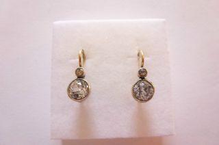 Exclusive Seltene Jugendstil Art Nouveau Ohrringe Gold 585 Mit Gr.  Weiß Saphiren Bild