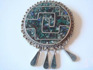 Antike Mexico Brosche & Anhänger Echt Silber 925 Echten Edelsteinen Inlays Bild