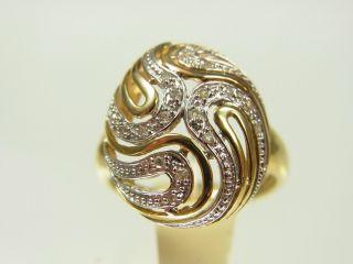 Schöner Diamant Ring 333 Gelbgold Und Weißgold Mit 17 Diamanten Ca 0,  10 Carat Bild