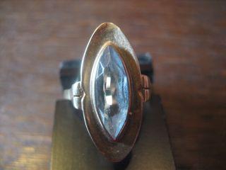 Toller Art Deco Aquamarin Ring Navette Schliff 333er Gold Schiffchenring Bild