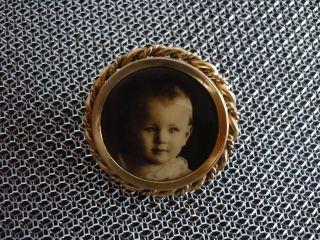 Antike Brosche Fotobrosche Mit Babybildnis Ca.  1930 Bild