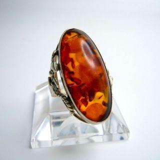 Jugendstil Silber Ring Mit Großem Bernstein Cabochon Um 1915 Bild