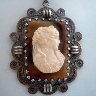 Silber Kamee - Gemmen Collier Um 1900 - Traumstück Bild