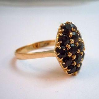 750 Gold Böhmen Granat Etagierter Rhomben Ring – Meisterstück Um 1920 Bild