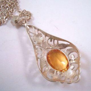 Silber Jugendstil Citrin Collier - Paris Um 1910 Bild