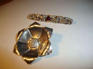 2 Silber Broschen Markasit 835 Silberbrosche Jugendstil Markasit Spinell Blume Bild