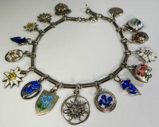Vintage Bettelarmband Silber ' Alpenblumen ' AnhÄnger Austrian Charm Bracelet B015 Bild