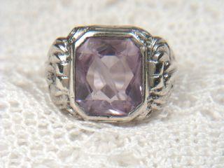 Antik Ring Siegelring Massiv 835 Silber Verziert Amethyst Facetten Rg 56 / 10,  5g Bild